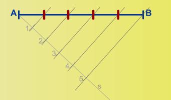 Dividir un segmento en 5 partes iguales