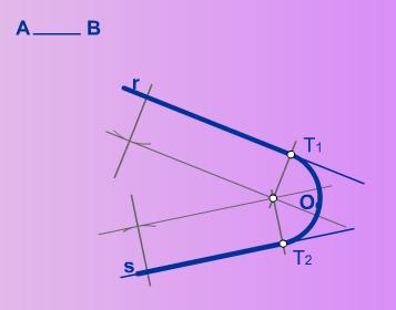 Enlace de dos rectas cualesquiera mediante un arco AB