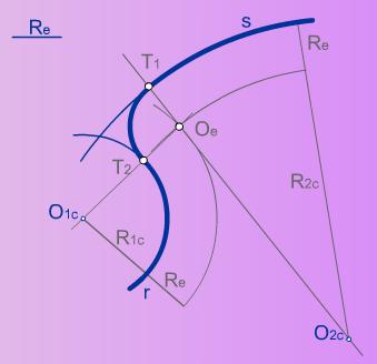 Enlace de dos arcos mediante un arco de radio conocido