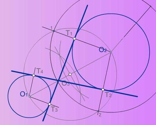 Rectas tangentes interiores a dos circunferencias