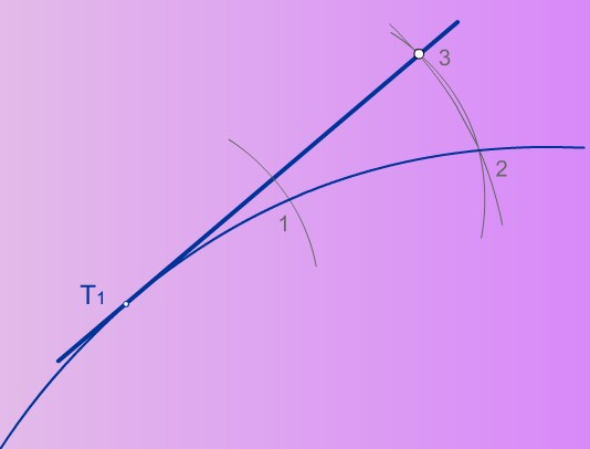 Tangente a una circunferencia con centro desconocido