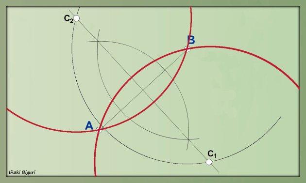 Circunferencia que pase por dos puntos