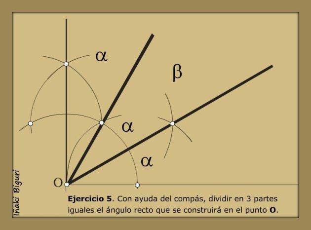 Dividir un ángulo de 90º en tres partes iguales