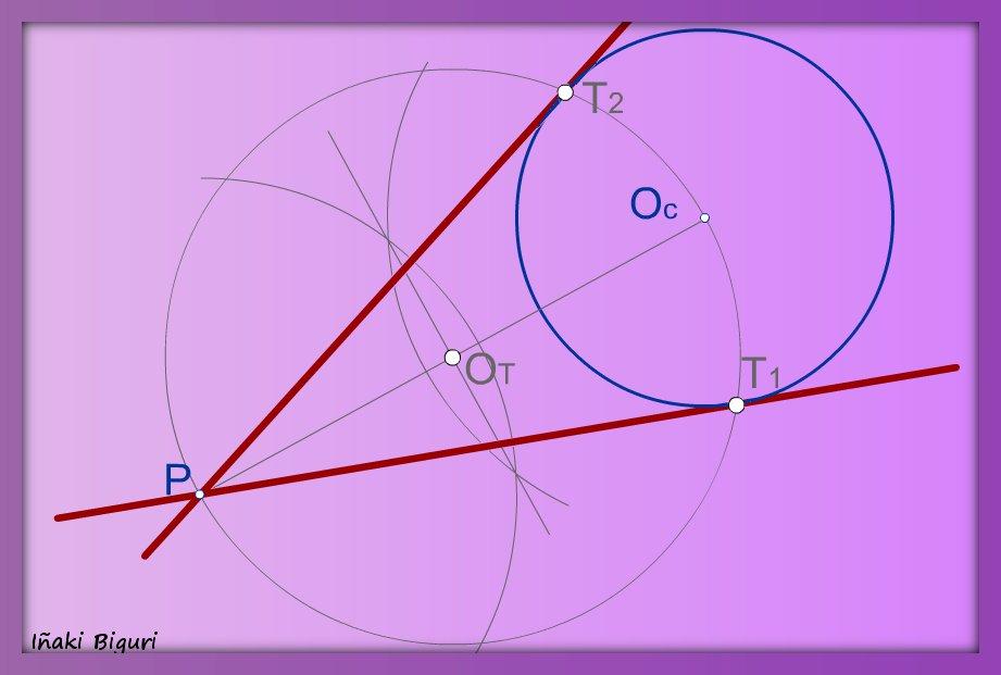 Recta tangente a una circunferencia desde un punto exterior a ella