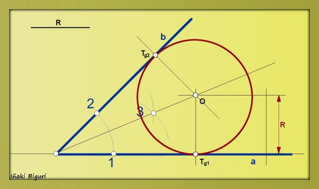 Circunferencia tangente a dos rectas que se cortan