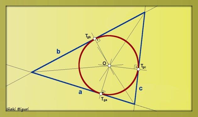 Circunferencia tangente a tres rectas que se cortan dos a dos