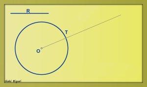 Circunferencia tangente a otra circunferencia, pasando por T 01