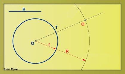 Circunferencia tangente a otra circunferencia, pasando por T 02