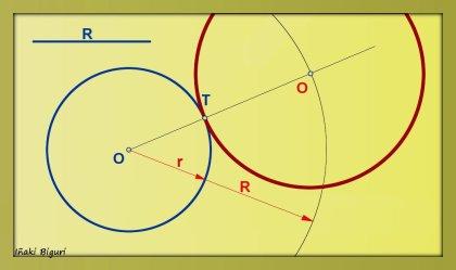 Circunferencia tangente a otra circunferencia, pasando por T 03