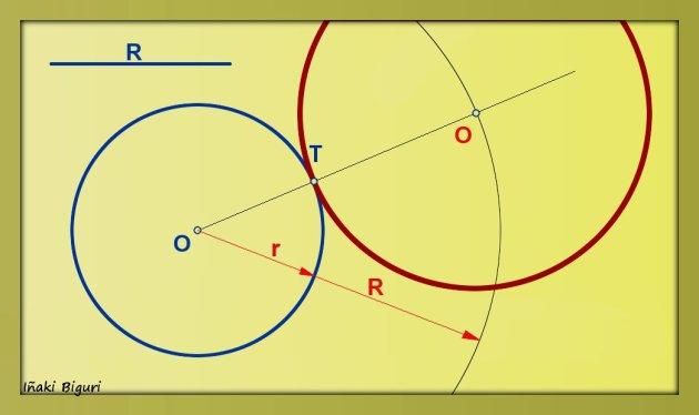 Circunferencia tangente a otra circunferencia, pasando por T