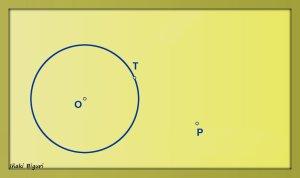 Circunferencia tangente a otra circunferencia, pasando por T y P 00