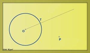 Circunferencia tangente a otra circunferencia, pasando por T y P 01