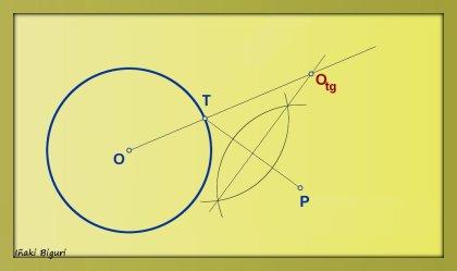 Circunferencia tangente a otra circunferencia, pasando por T y P 02