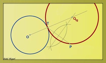 Circunferencia tangente a otra circunferencia, pasando por T y P 03