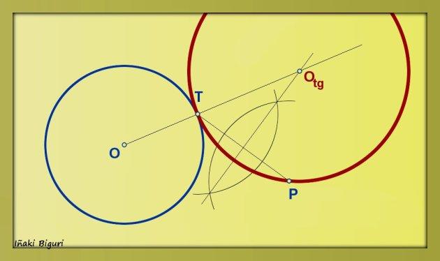 Circunferencia tangente a otra circunferencia, pasando por T y P