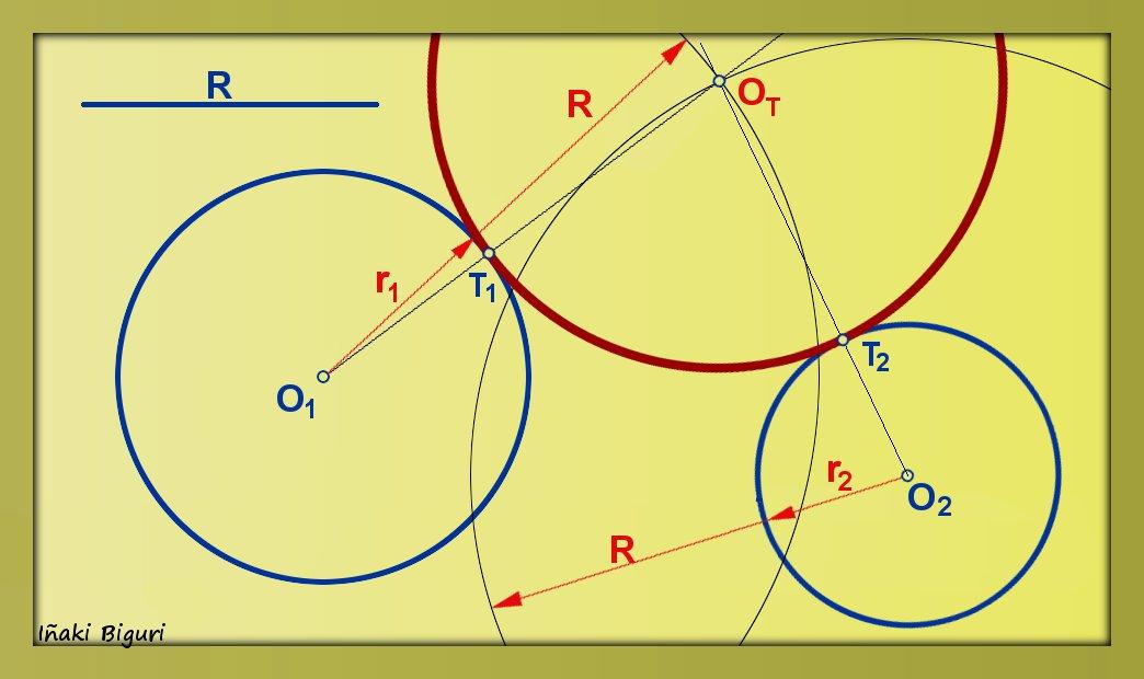 Circunferencia tangente a otras dos circunferencias for Exterior tangente y secante