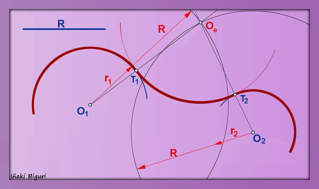 Enlazar dos arcos de circunferencia