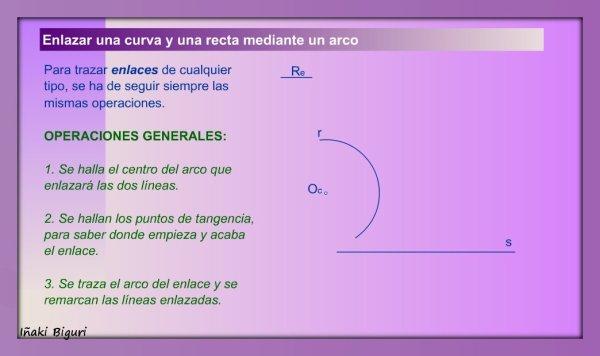 Enlazar una recta y una curva mediante un arco 00