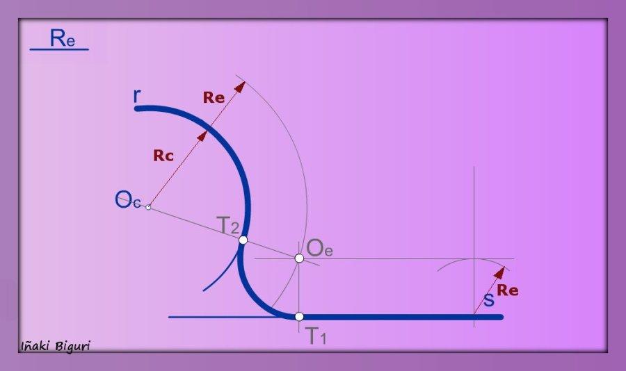 Enlazar una recta y una curva mediante un arco