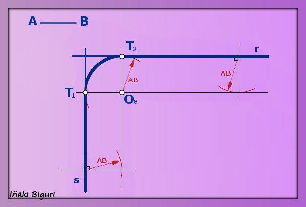 Enlazar dos líneas en ángulo recto mediante un arco