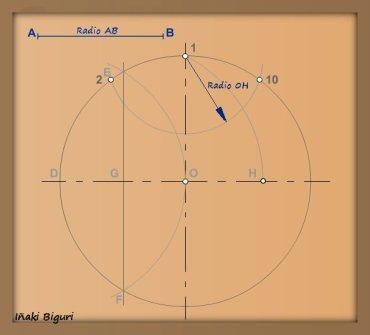 Decágono inscrito en una circunferencia 01