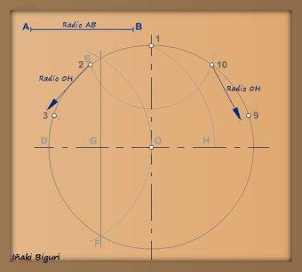Decágono inscrito en una circunferencia 02