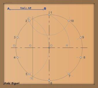 Decágono inscrito en una circunferencia 03