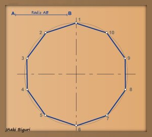 Decágono inscrito en una circunferencia 04