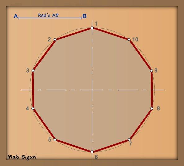 Decágono inscrito en una circunferencia 05