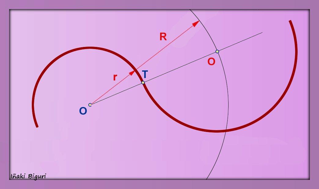 Enlazar dos arcos de circunferencia en un punto determinado