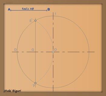 Pentágono inscrito en una circunferencia 03