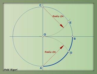 Rectificación de un cuadrante de circunferencia 01