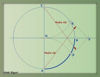 Rectificación de un cuadrante de circunferencia 02