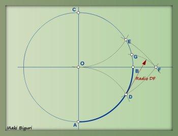 Rectificación de un cuadrante de circunferencia 03