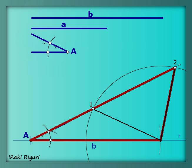 Triángulo obtusángulo a partir de dos lados y un ángulo