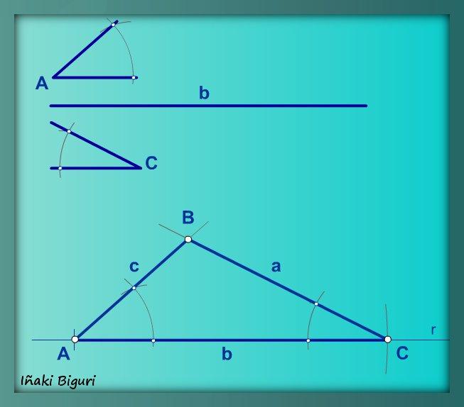 Triángulo, con lado y ángulos adyacentes
