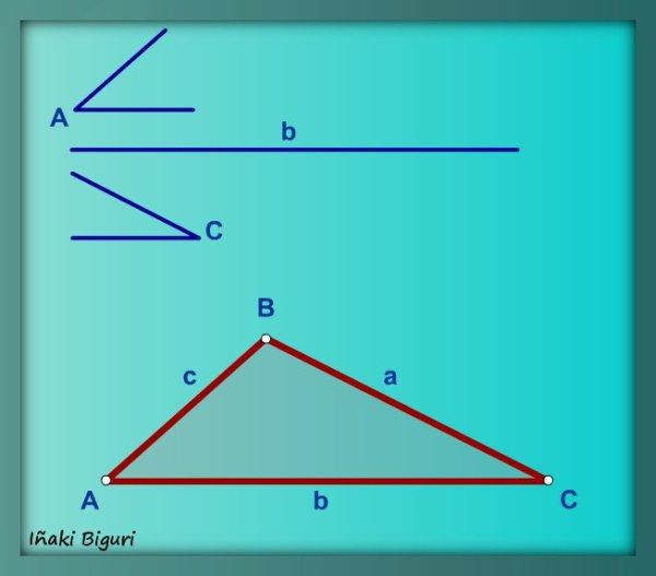 Triángulo con lado y ángulos adyacentes 06