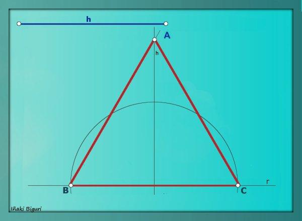 Triángulo equilátero. Conociendo la altura 07 b