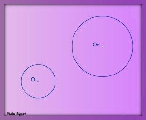 Rectas tangentes exteriores a dos circunferencias 00