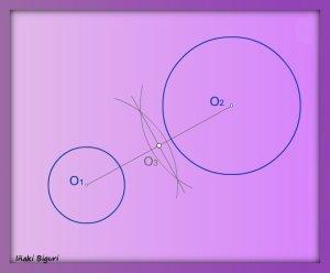 Rectas tangentes exteriores a dos circunferencias 01