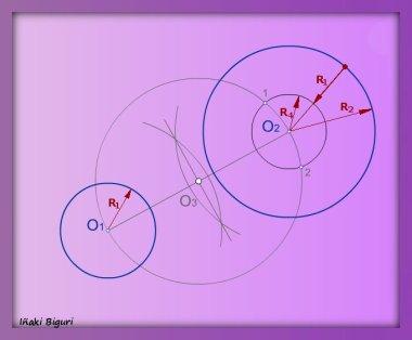 Rectas tangentes exteriores a dos circunferencias 03