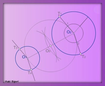 Rectas tangentes exteriores a dos circunferencias 04