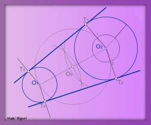 Rectas tangentes exteriores a dos circunferencias 05