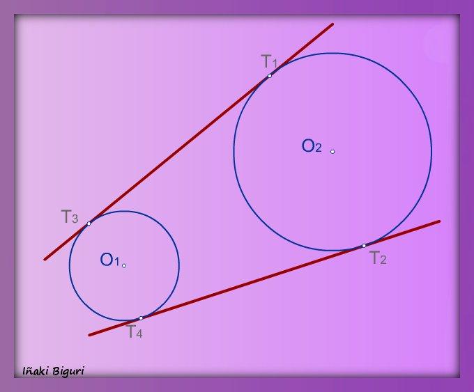 Rectas tangentes exteriores a dos circunferencias