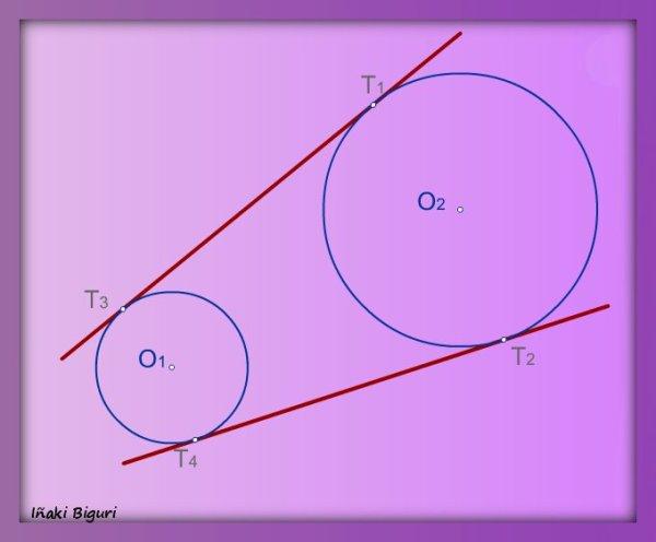 Rectas tangentes exteriores a dos circunferencias 06