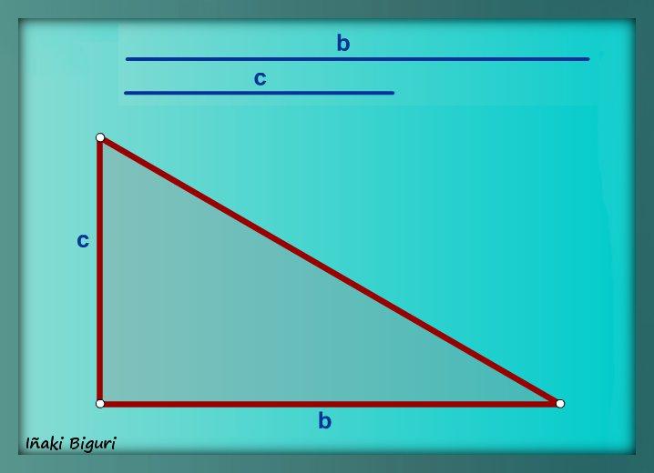 Triángulo rectángulo, conociendo dos catetos